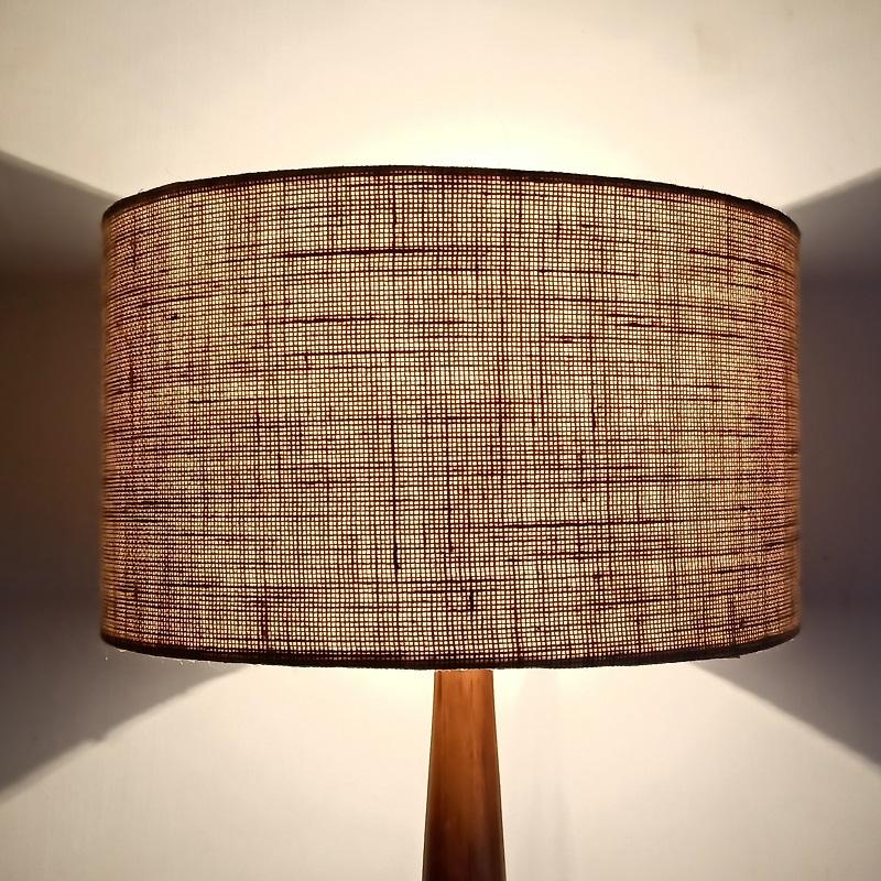 Jute lamp shade in drum shape
